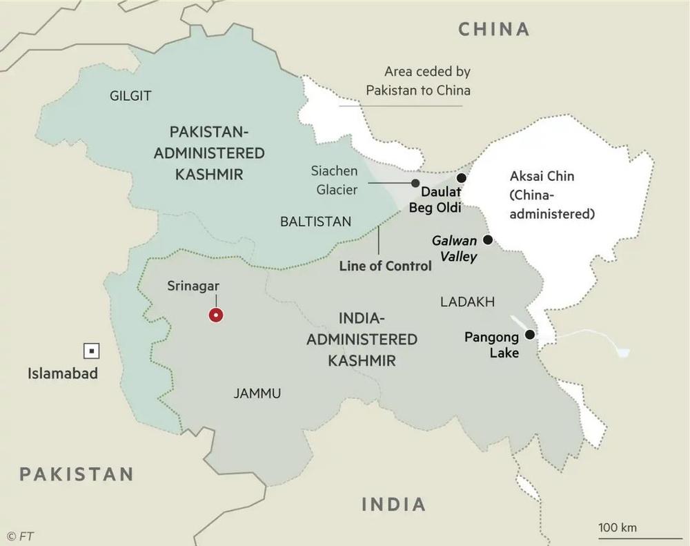 Map of Himalayan Border Disputes
