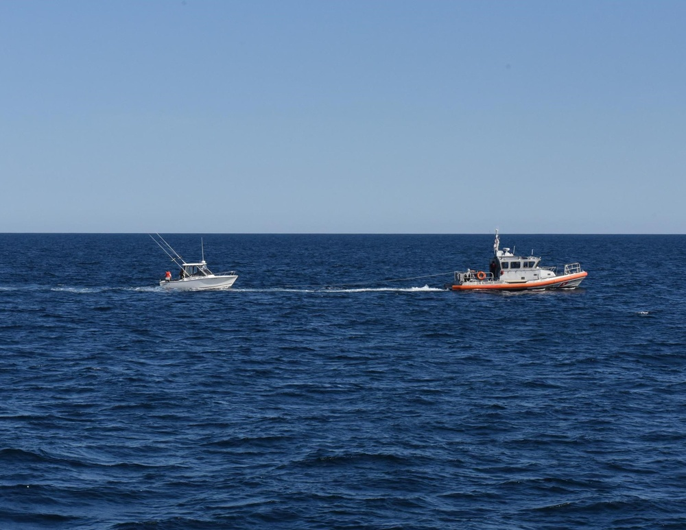 Coast Guard dewaters, tows sinking boat with 4 people aboard 32 miles off Wachapreague