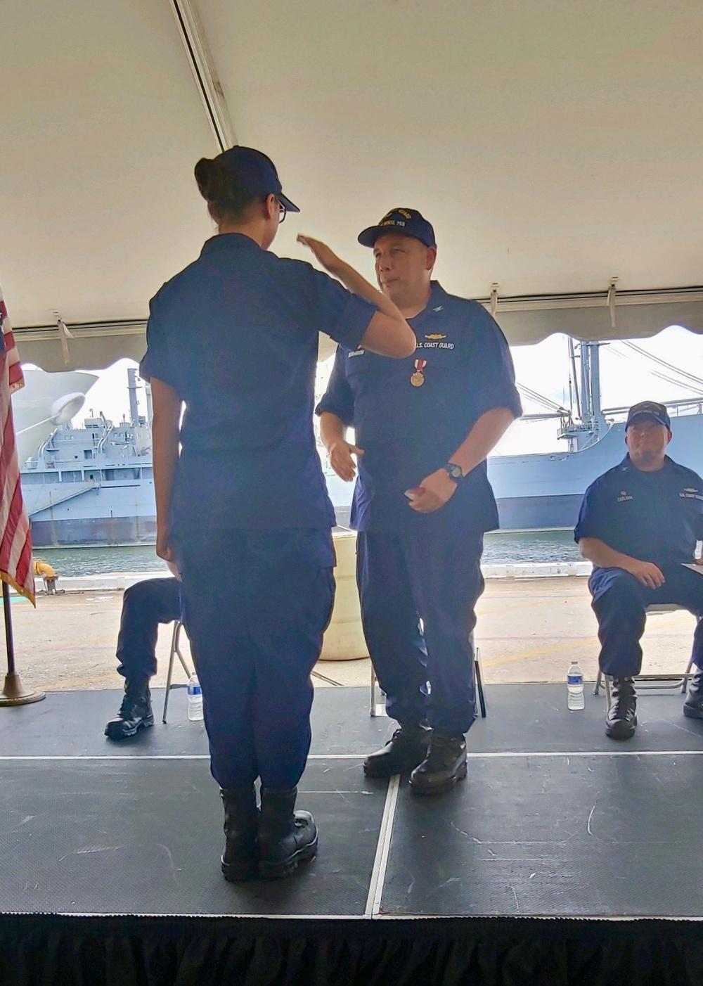 Capt. Adam Morrison receives commissioning pennant