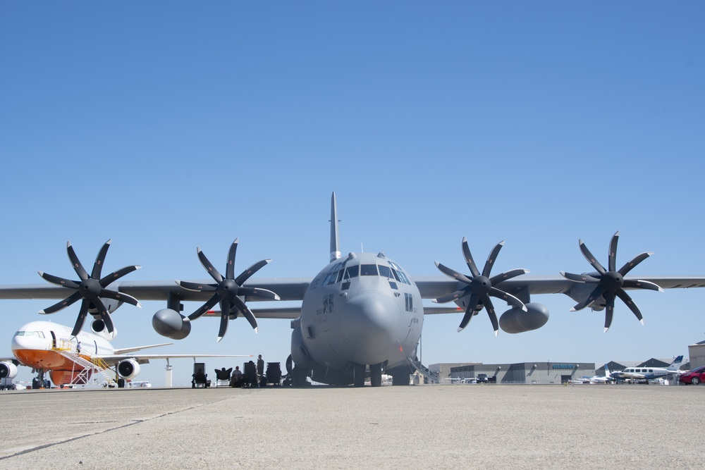 152nd Airlift Wing C-130 sits on the ramp at CAL FIRE's McClellan Reload Base in 2020