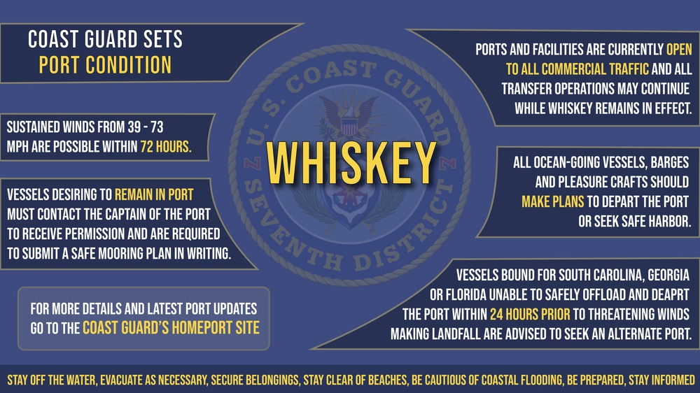 Coast Guard sets Port Condition Whiskey