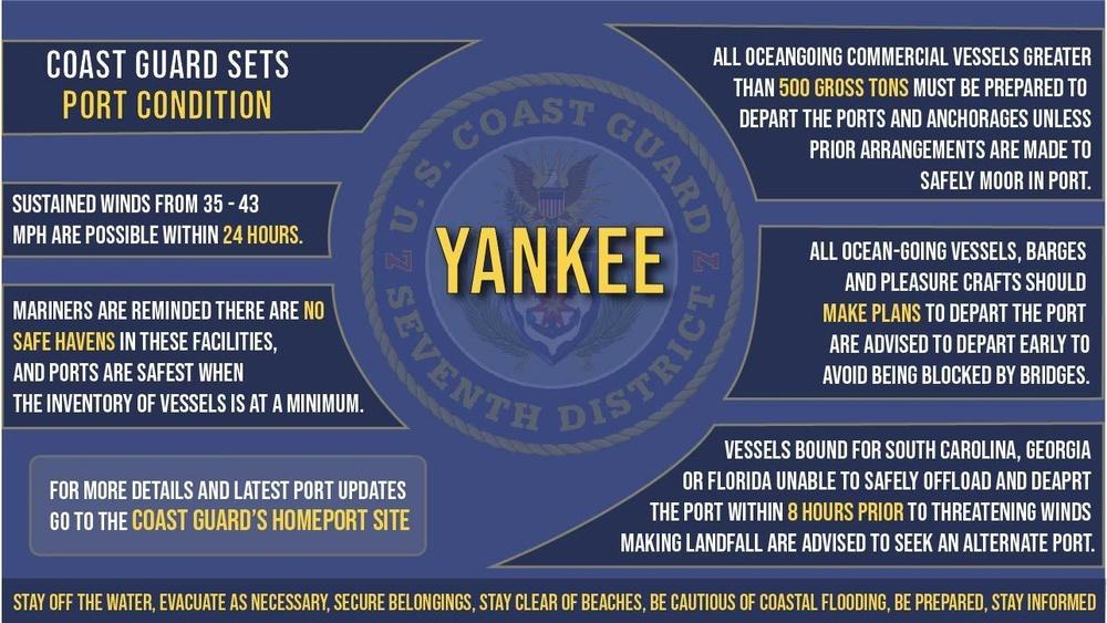 Coast Guard sets Port Condition Yankee