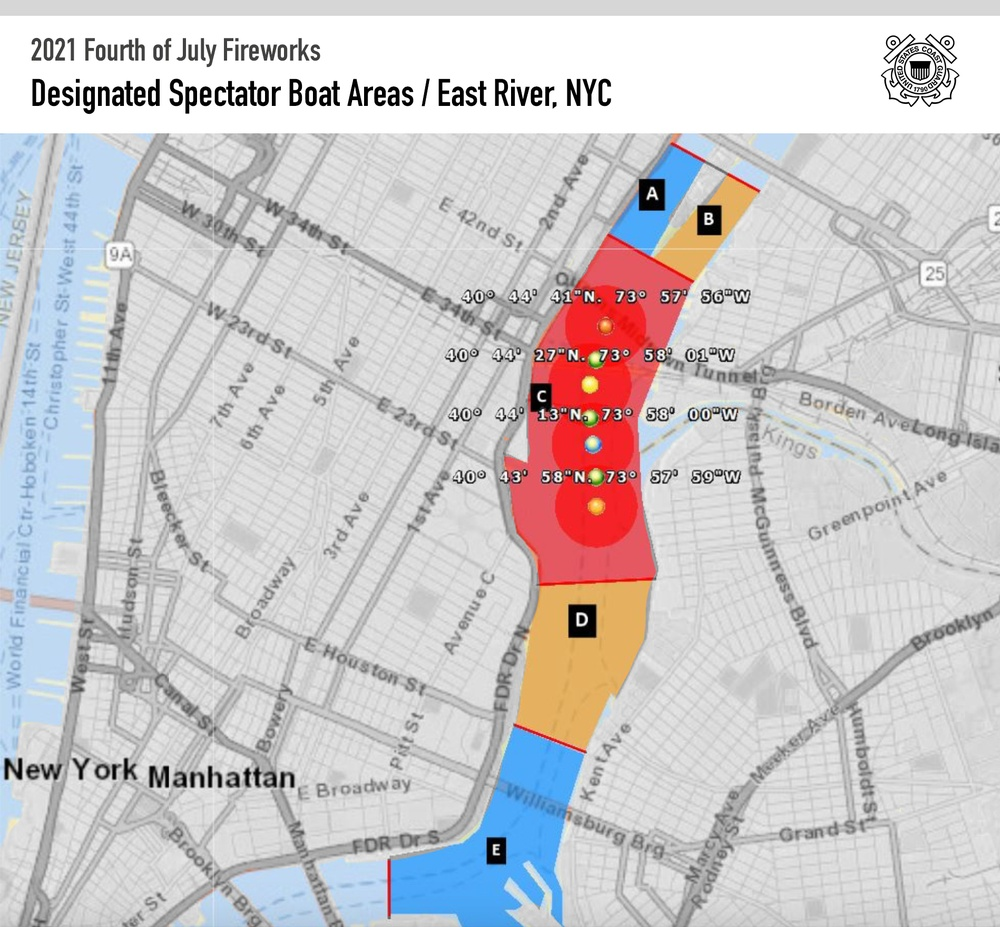 Coast Guard regulated spectator areas for 2021 New York City Fourth of July fireworks