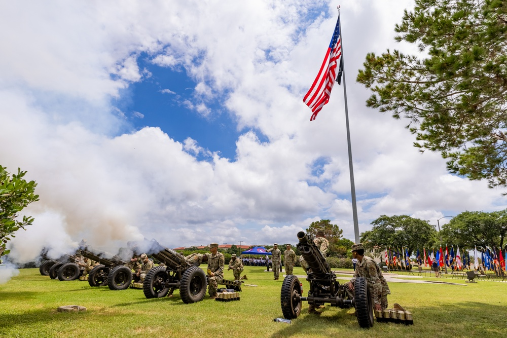 U.S. Army Soldiers Conduct a Fifty Gun Salute on Fort Sam Houston for Fourth of July 2021