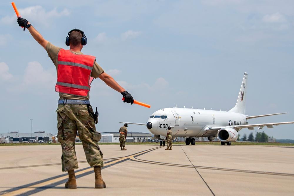 Navy P-8s land at Rickenbacker ANGB