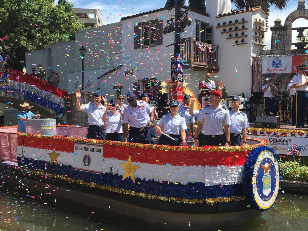960th CW leaders participate in the Armed Forces River Parade