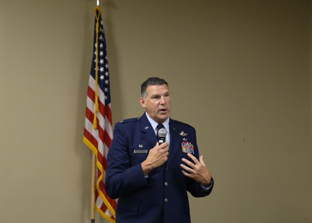Leon J. Dodroe, 188th Wing commander speaks during the 188th Mission Support Group Change of Command ceremony