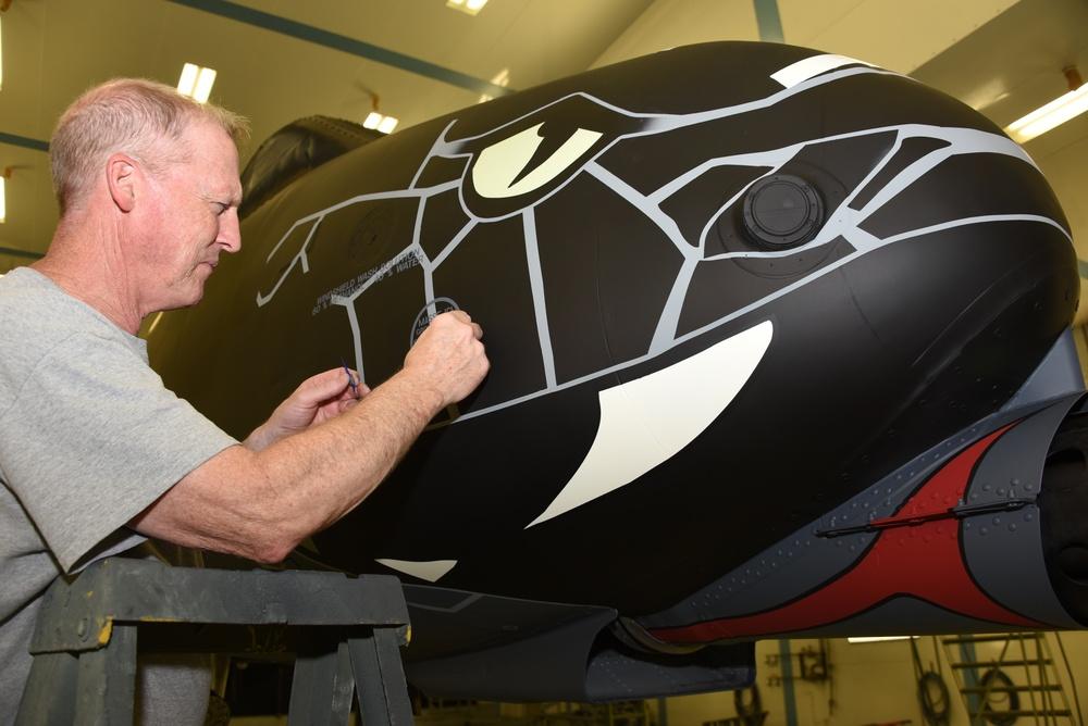 Stenciling a commemorative A-10