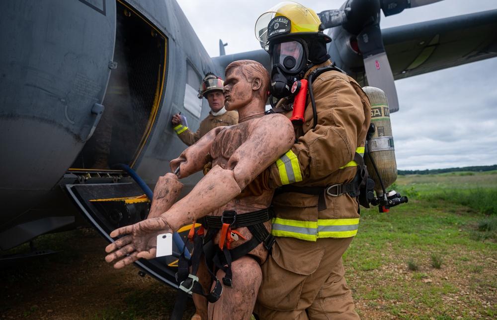 152nd Civil Engineer Squadron Firefighers train at Volk Field