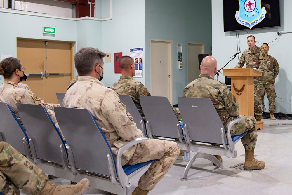 The 407th Air Expeditionary Group hosts a change of command ceremony