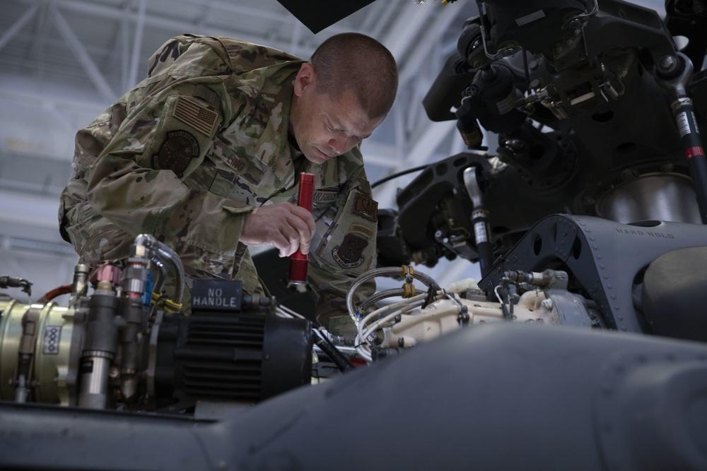 176th Wing Aircraft Maintenance Squadron inspects HH-60 Pave Hawk