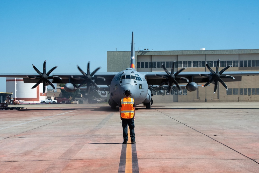 Air National Guard C-130, MAFFS 9 out of Reno, Nev. launches from McClellan Air Tanker Base, Sacramento, Calif.