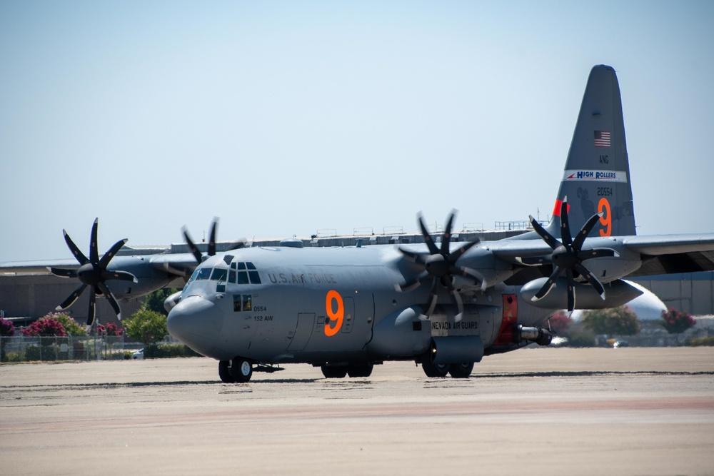 Air National Guard C-130, MAFFS 9 out of Reno, Nev., launches from McClellan Air Tanker Base, Sacramento, Calif.