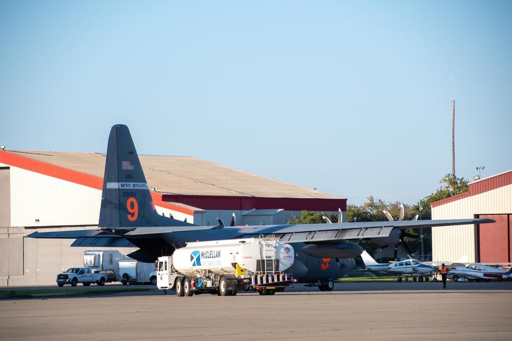 McClellan Jet Services refuel an Air National Guard C-130 at McClellan Air Tanker Base, Sacramento, Calif.