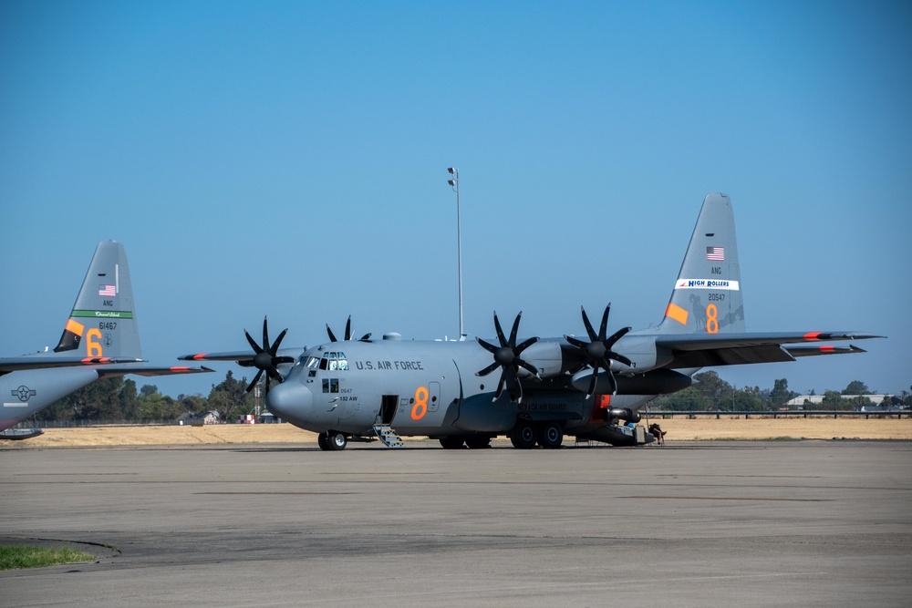 Air National Guard C-130, MAFFS 8 out of Reno, Nev. awaits a launch order at McClellan Air Tanker Base, Sacramento, Calif.