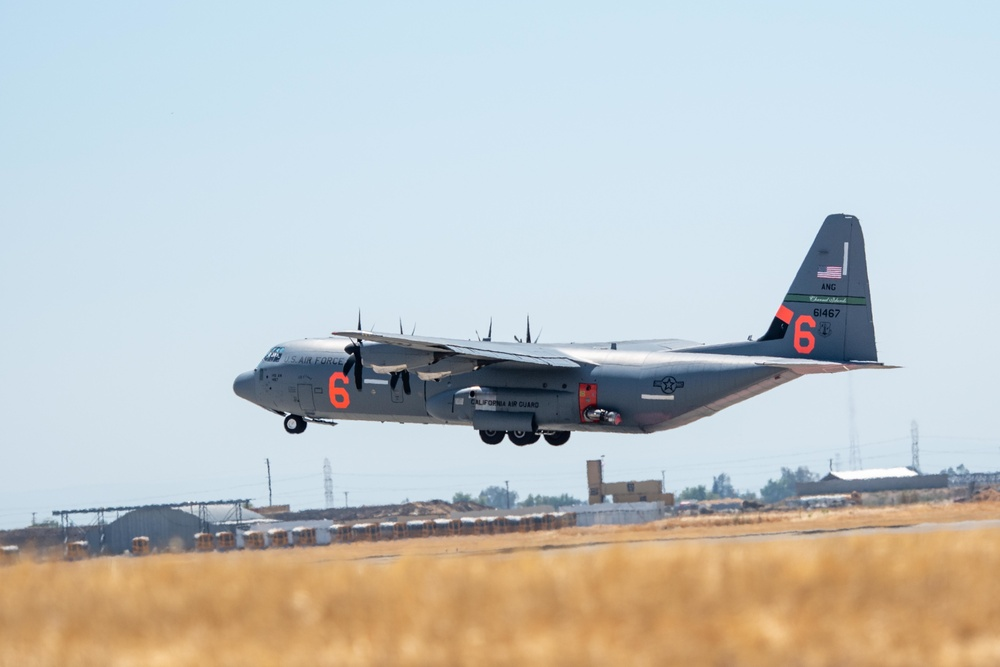Air National Guard C-130, MAFFS 6 out of Channel Islands, Calif. launches from McClellan Air Tanker Base, Sacramento, Calif.
