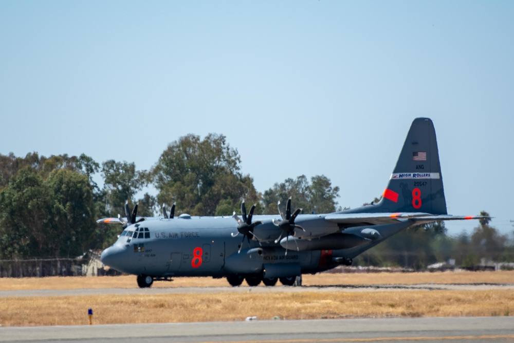 Air National Guard C-130, MAFFS 8 out of Reno, Nev. launches from McClellan Air Tanker Base, Sacramento, Calif.