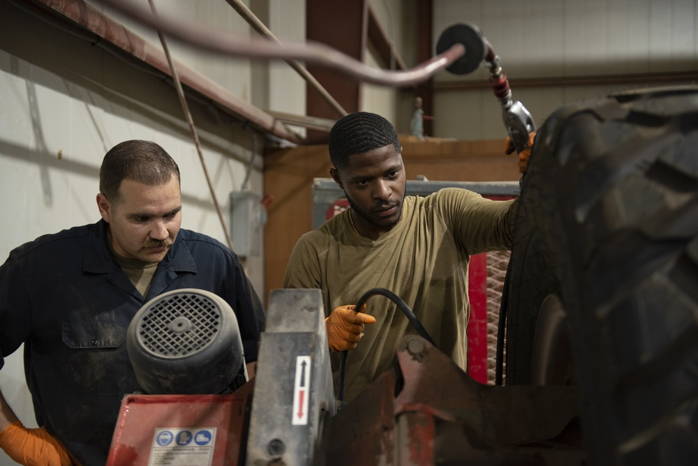 386th Expeditionary Logistic Readiness Squadron vehicle maintainers keep the fleet rolling