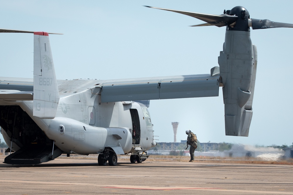 U.S. Marines load supplies and personnel for Talisman Sabre 21