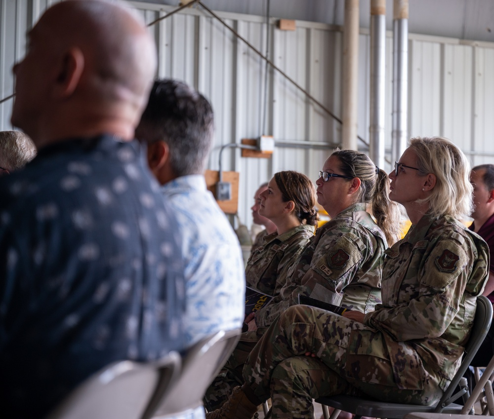 914th ASTS airmen listen to town hall meeting