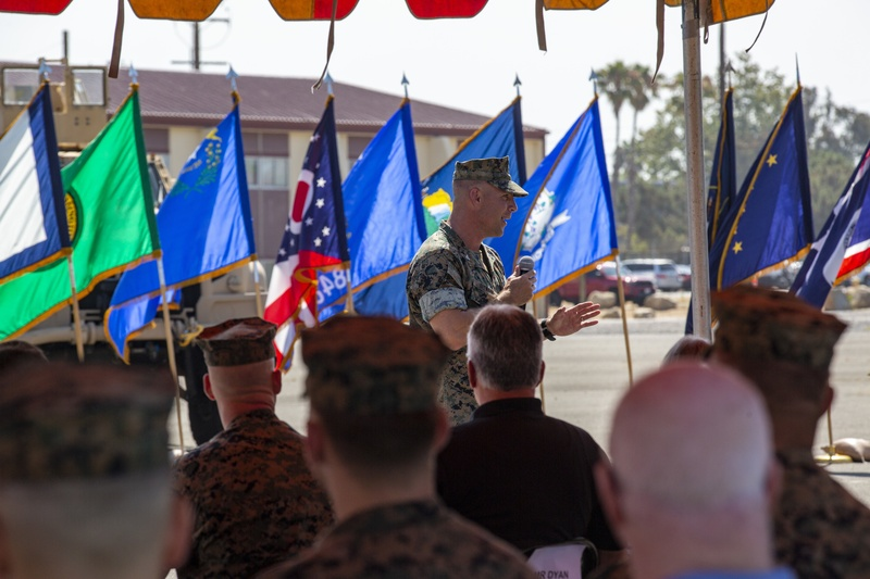 15th MEU Marines conduct a Change of Command ceremony