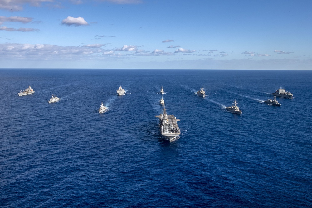 The ships of the USS America (LHA 6) Expeditionary Strike Group steam in formation during Talisman Sabre (TS) 21