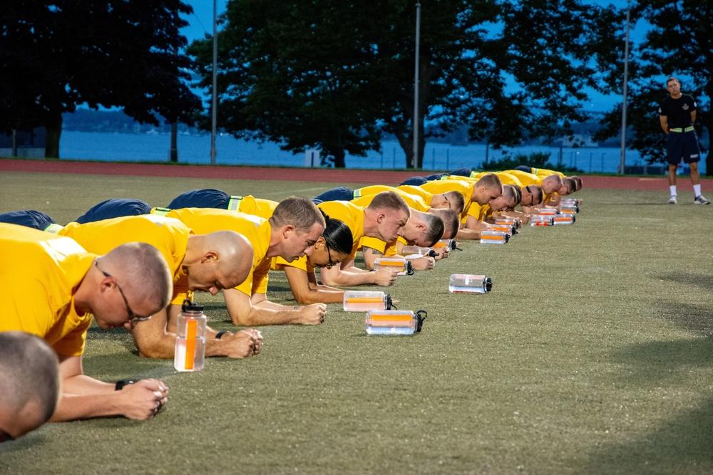 210719-N-NO485-0035 NEWPORT, R.I. (July 19, 2021) OCS physical fitness assessment
