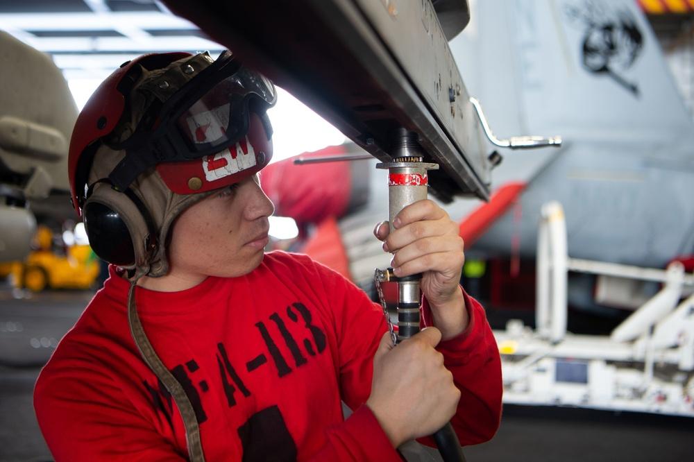 USS Carl Vinson (CVN 70) Sailors Conduct Preventative Maintenance