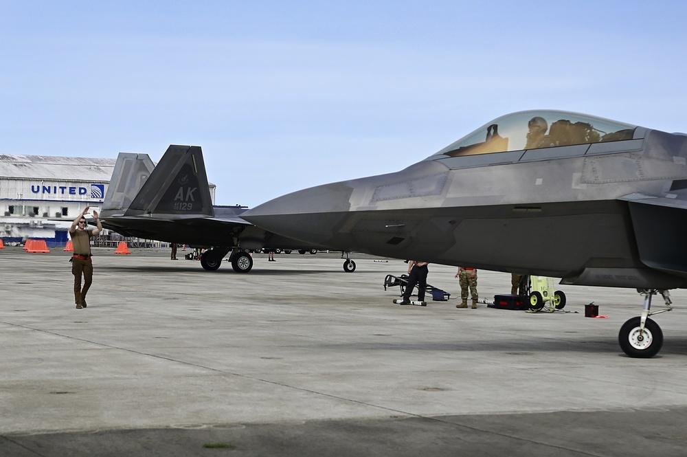F-22's arrive at Antonio B. Won Pat International Airport