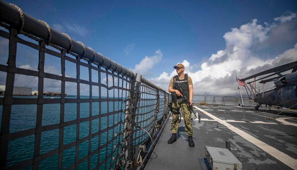 USS Billings Sailor Stands Watch