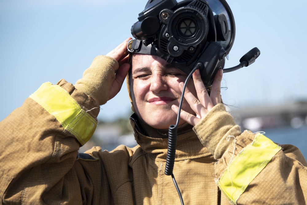 USCG Crew Conducts Fire Fighting Training