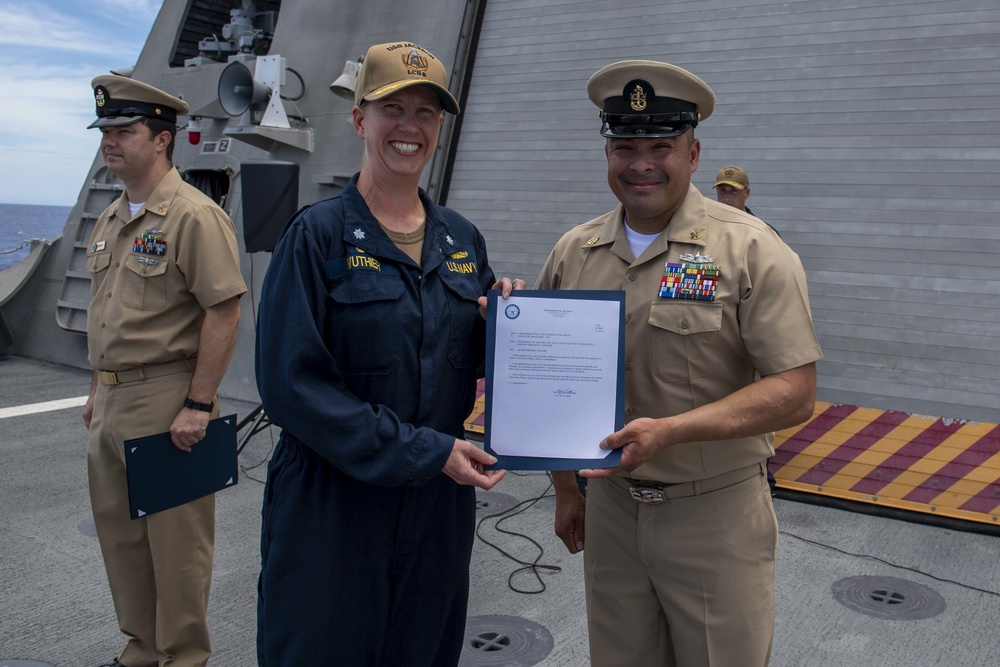 USS Jackson (LCS 6) Sailors frocked at All-hands Call