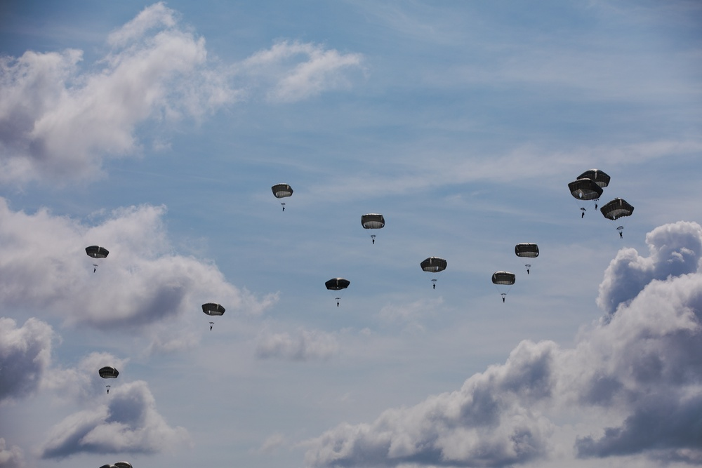 Indonesian Paratroopers conduct a jump and wing exchange with 82nd Airborne Division Paratroopers