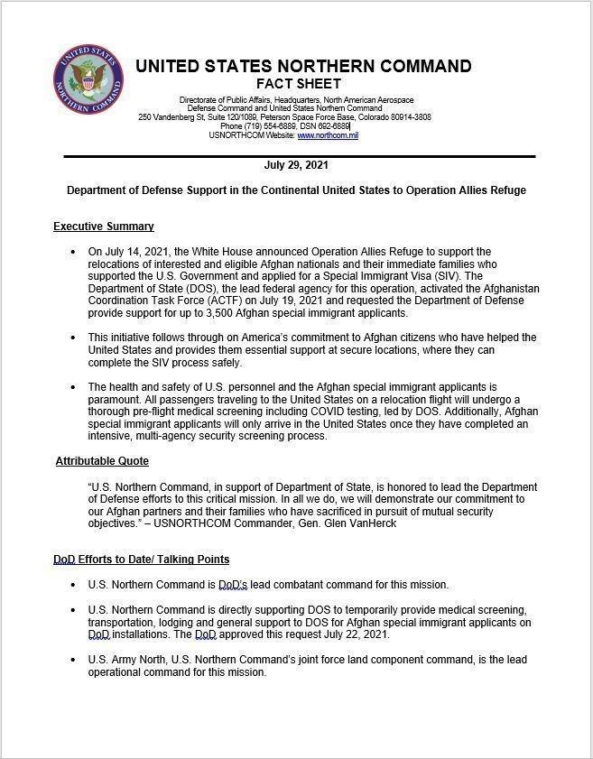 Operation Allies Refuge Fact Sheet