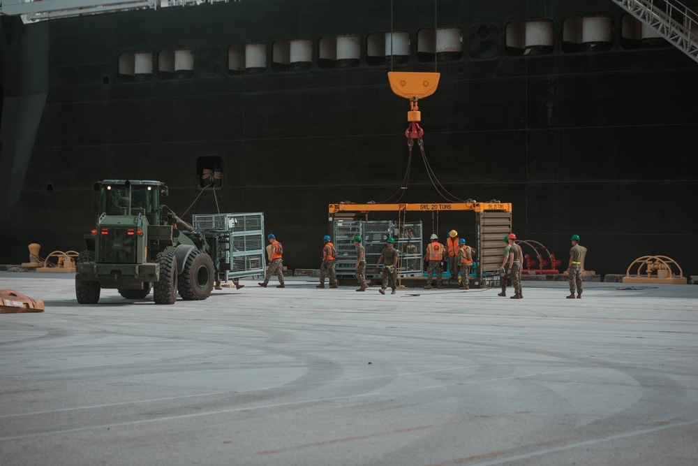 U.S. Marines and Sailors Conduct A Maritime Propositioning Force Offload as Part of Exercise Freedom Banner