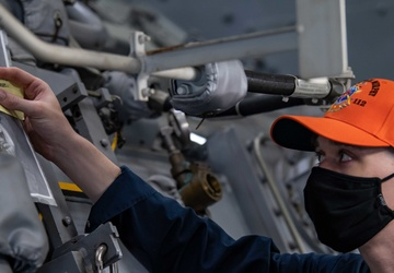 Gas Turbine Systems Technician Conducts Simulated Temperature Reading Aboard USS Michael Murphy (DDG 112)