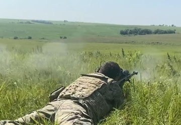 Army EOD Soldiers use sniper rifle for standoff munitions disruption training