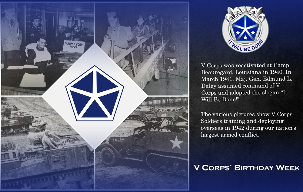 V Corps' Activation for service during WWII