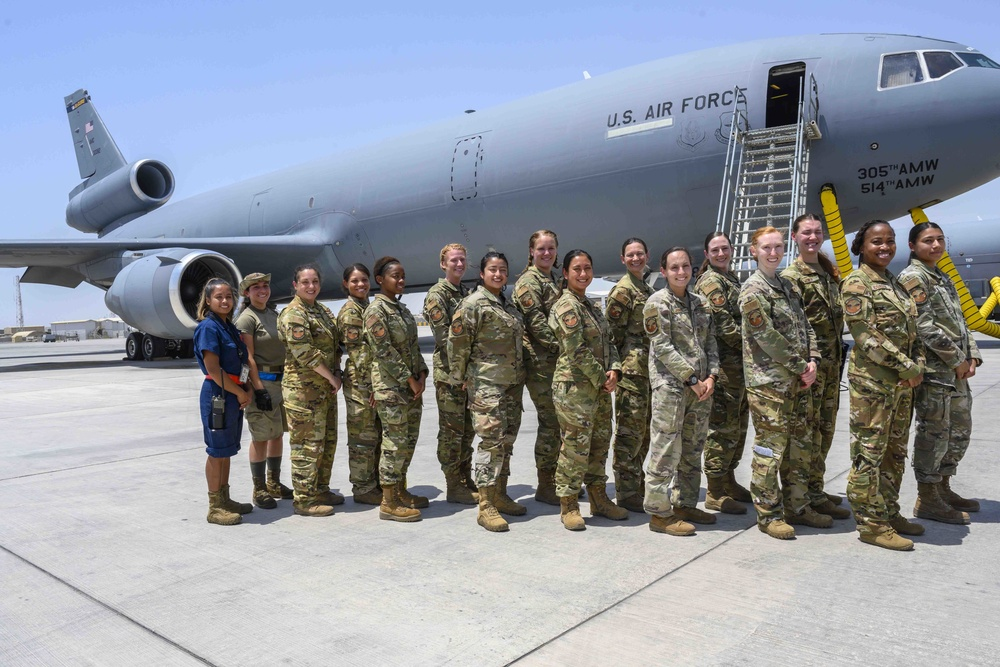 """380th AEW KC-10 female crew conducts """"unmanned"""" flight"""