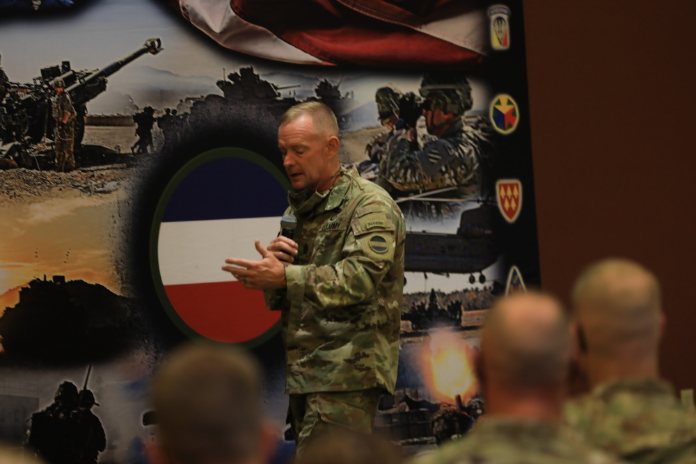 CSM Todd Sims gives a speech to the FORSCOM Retention teams at Cole Park Commons.