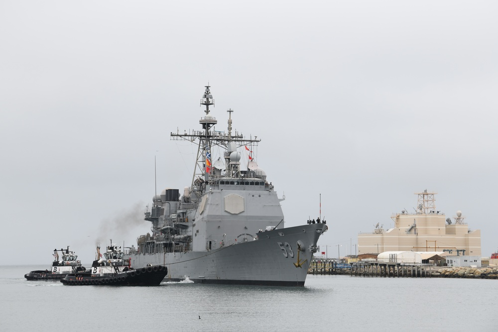 USS Mobile bay arrival to NSWC PHD
