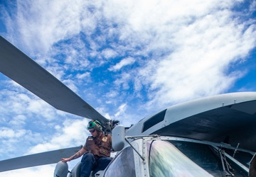 Sailors Conduct Maintenance on an MH-60R Seahawk Aboard USS Michael Murphy (DDG 112)