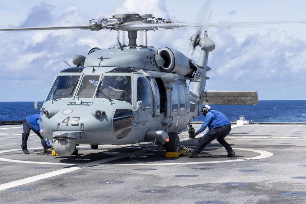 USS Jackson (LCS 6) Sailors participate in flight quarters