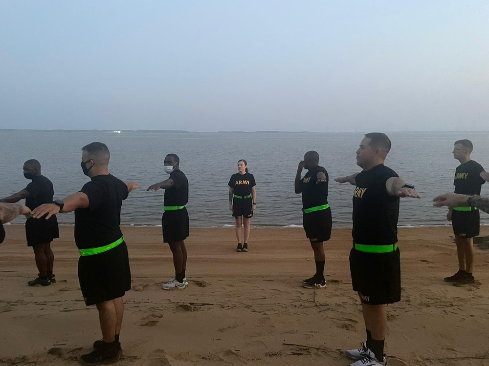 U.S. Army Soldiers conduct Physical Readiness Training assessments