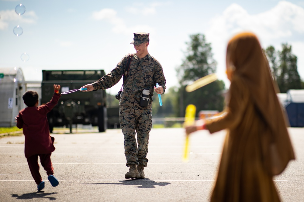 Afghan Children Interact With Marines at Quantico