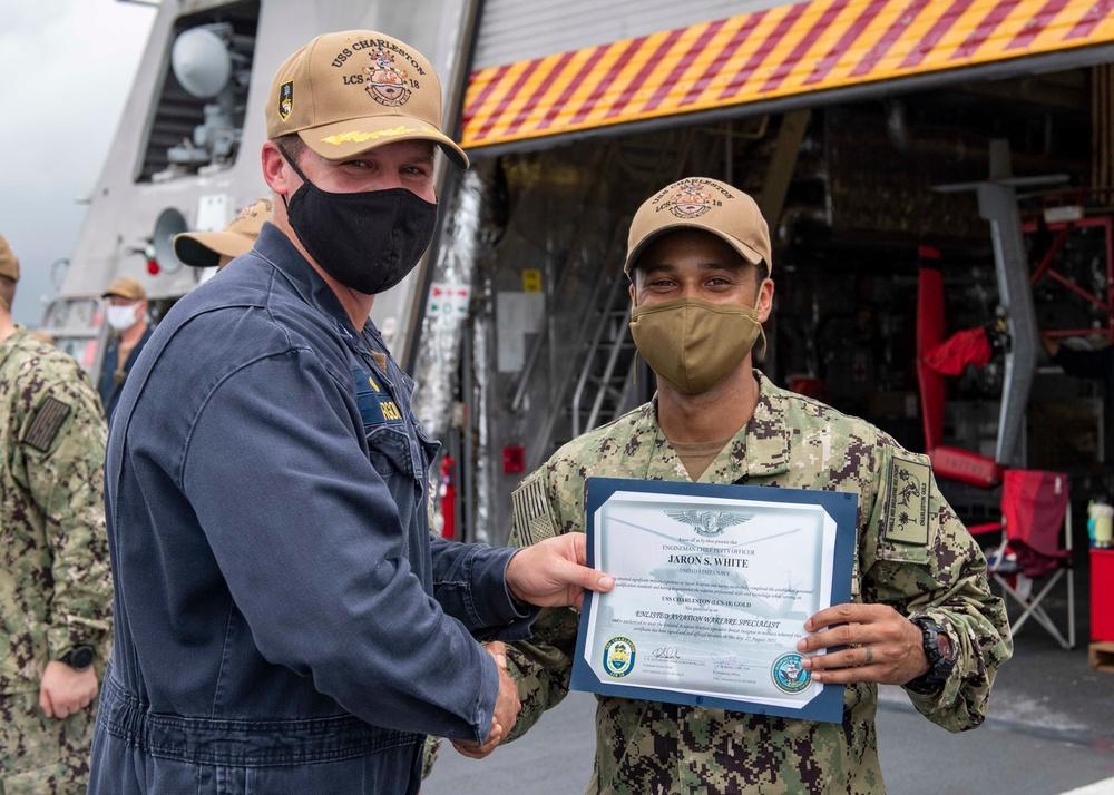 Award Ceremony Aboard USS Charleston (LCS 18)