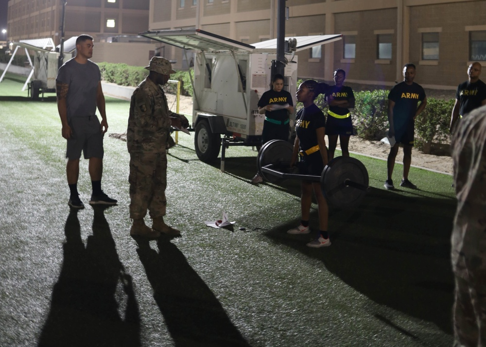 'Spears Ready' Soldiers complete ACFT familiarization at Camp Arifjan, Kuwait