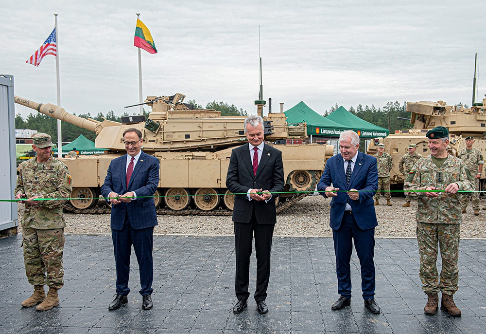 Lithuanian president attends ribbon-cutting at Forward Operating Site Pabrade