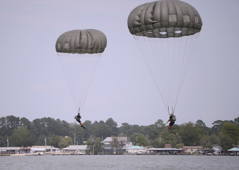 Soldiers Complete Water Jumps