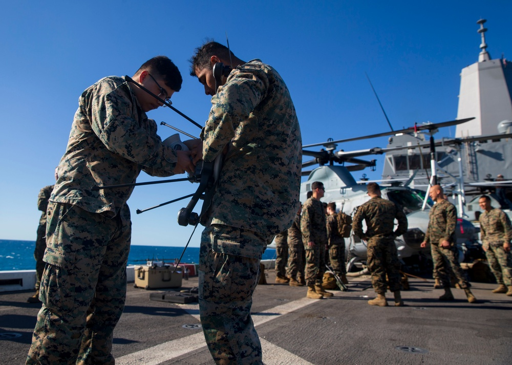 The 31st MEU conducts a Backpackable Electronic Attack Module Exercise (BEAM)